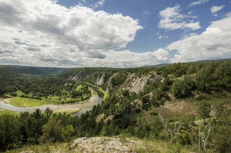 urals: Bashkortostan, Russia - July 23, 2015: the Belaya River in the mountains of the southern Urals.