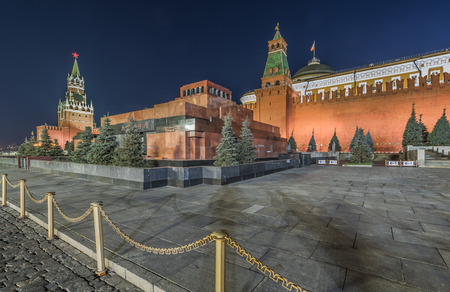 spassky: Moscow, Russia - October 16, 2015: the Lenin Mausoleum on red square at night.