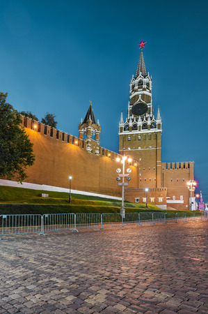 spassky: Moscow, Russia - October 16, 2015: Spasskaya tower of Moscow Kremlin at night. Stock Photo