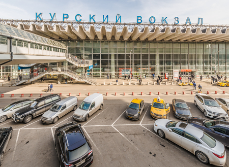 visitors area: Moscow, Russia - March 11, 2016: Car Parking in front of the Kursk station in Moscow.