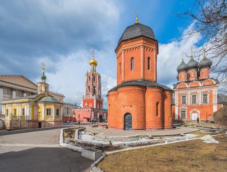 petrovka: Moscow, Russia - March 21, 2016: High-Petrovsky monastery on ulitsa Petrovka.