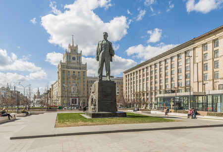 national poet: Moscow, Russia - April 24, 2016: Monument to Vladimir Mayakovsky Mayakovsky square. Stock Photo