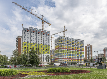 administrative buildings: Moscow, Russia - June 28, 2016: Construction of new modern high-rise residential buildings in the Western administrative district.
