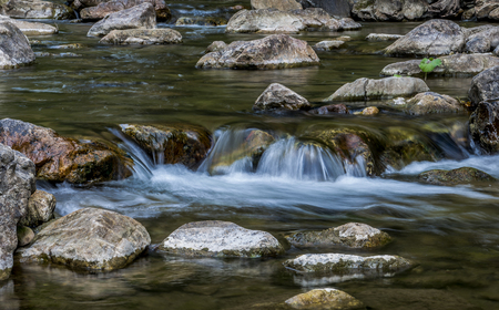 The Republic Of Bashkortostan, Russia. Stones washed by the stream of the mountain river in Ural mountains. Stock Photo