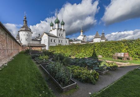 Rostov, Russia - September 13, 2016: the Bishop's garden in the Rostov Kremlin. Editorial