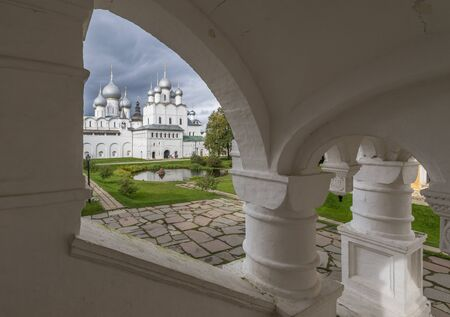 Rostov, Russia - September 13, 2016: overlooking the Central courtyard of Rostov Kremlin through the arch of the vault. Editorial