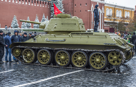 red square: Moscow, Russia - 7 November 2016: Exhibition of military equipment during the war in red square. Editorial