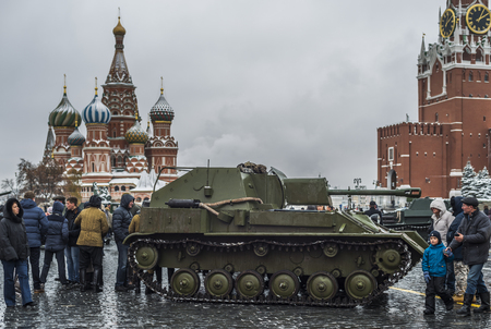 Moscow, Russia - 7 November 2016: Exhibition of military equipment during the war in red square. Editorial
