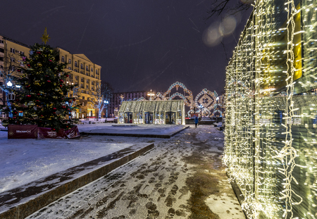 Moscow, Russia - January 03, 2017: new year and Christmas lighting decoration Pushkin square. Editorial