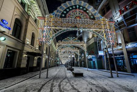 Moscow, Russia - January 03, 2017: new year and Christmas lighting decoration of the city Nikolskaya street.