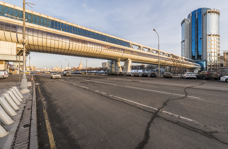 Moscow, Russia - November 20, 2016: Bagration Bridge and Tower 2000. One of the towers of the business center Moscow-city.