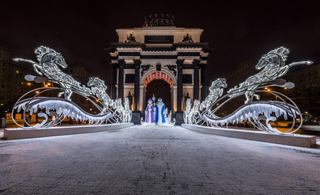 Moscow, Russia - January 04, 2017: new year and Christmas lighting decoration of the triumphal arch.