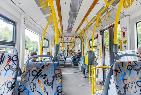 Moscow, Russia - July 8, 2016: the Interior of a modern tram in Moscow. Editorial