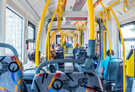 Moscow, Russia - July 6, 2016: the Interior of a modern tram in Moscow. Editorial
