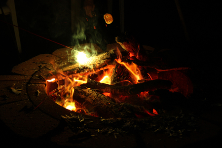 Fire Pit with Flames Burning Wood at Night Foto de archivo