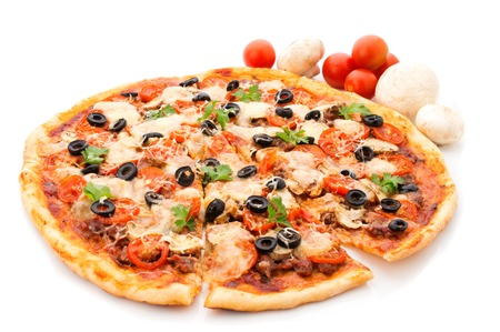 lifted: Delicious italian pizzas lifted slice 1 Isolated on white background