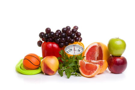 muscle fiber: fitness equipment and healthy food isolated on white