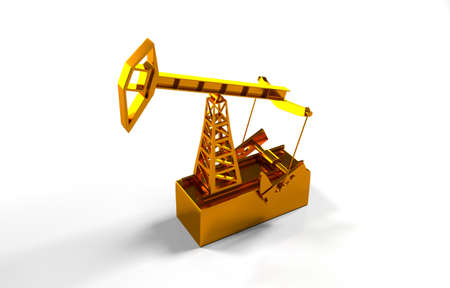 oilfield: The concept of energy resources. Gold oil tower on a white background