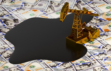 pumpjack: Golden Pumpjack And Spilled Oil On The Money. 3D Scene.