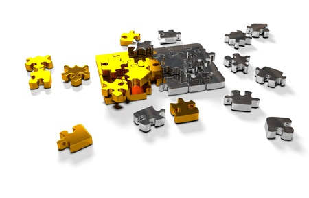 chaos order: pile of gold puzzle elements scattered on the surface. isolated on white with clipping path.