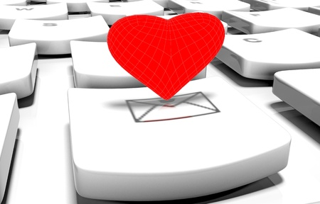 the admirer: Heart on computer keyboard in online dating concept