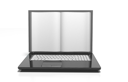 repository: Laptop in book form. Internet library. Changing the information sources of the book on the internet. Stock Photo