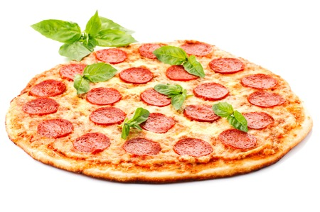 Tasty Pepperoni pizza with sausage from the top on white background 写真素材