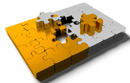 order chaos: pile of gold puzzle elements scattered on the surface. isolated on white with clipping path.