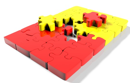 chaos order: pile puzzle elements scattered on the surface. isolated on white with clipping path.