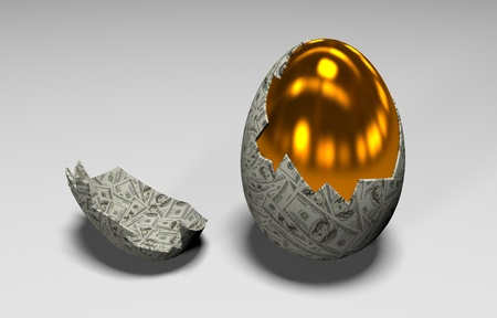 openly: A gold egg is in the broken shell
