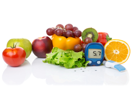 glucometer: glucometer for glucose level and healthy organic food on a white background. Diabetes concept