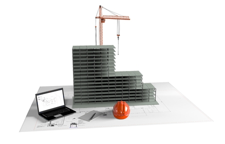 computer model: one model of a modern house, a computer with a cad software and some rolled construction projects, concept of house planning, 3d render