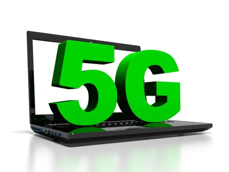 wireless communication: 5G symbol on a laptop computer, high-speed wireless communication concept