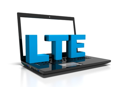 lte: LTE symbol on a laptop computer, high-speed wireless communication concept