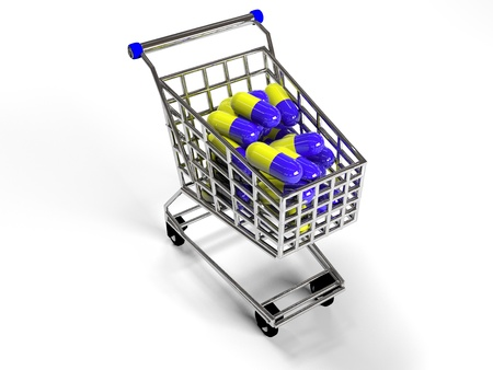 shopping trolley with pills on white background