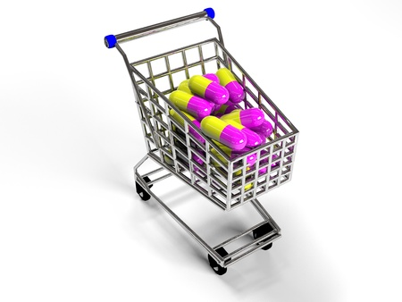 prescribe: shopping trolley with pills on white background