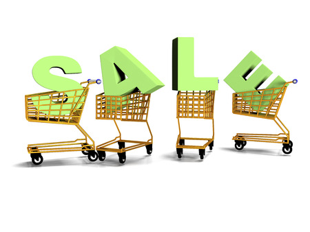 pushes: Snowman pushes shoppingcart with letters. Christmas shoppingcart Sale theme. Raster version, file also included in the portfolio. Stock Photo