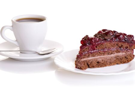 pound cake: cup of coffee and piece of cake with cherries
