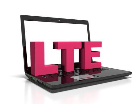 wireless communication: LTE symbol on a laptop computer, high-speed wireless communication concept