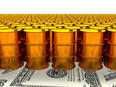 share prices: 3d image of oil golden barrel background