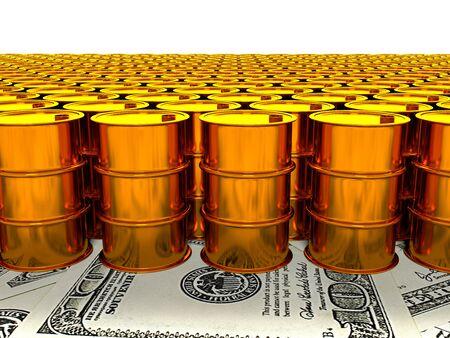 oil drum: 3d image of oil golden barrel background