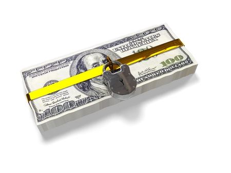pack of dollars: isolated on a white background 3d render pack dollars closed lock, the concept of the safe storage of funds,