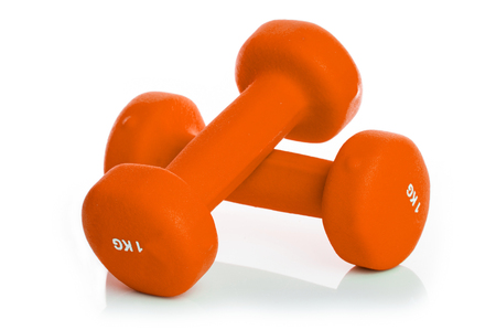 two Dumbbell isolated on a background white Stock Photo