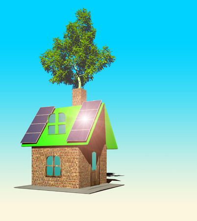 house with solar panels 3d render isolated