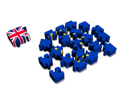 3d cg: Euro Puzzle and one Puzzle Piece with Great Britain Flag. 3D illustration. 3D CG.