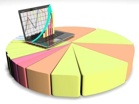 laptop with business or profits growth bar graph Stock Photo
