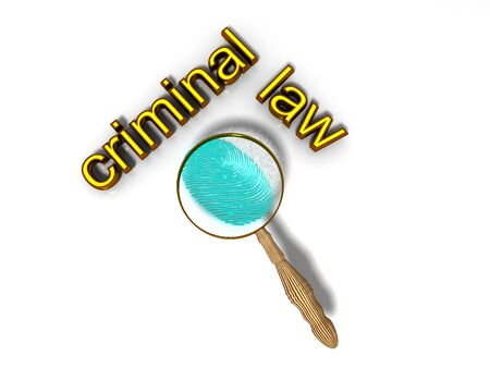criminology: 3d render, Study fingerprint through a magnifying glass, concept of criminology and criminal law Stock Photo