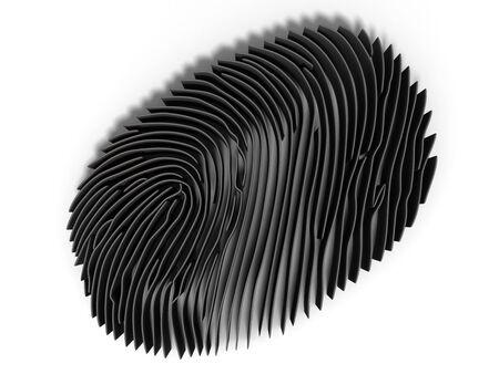 fingermark: 3d render, Study fingerprint through a magnifying glass, concept of criminology and criminal law Stock Photo
