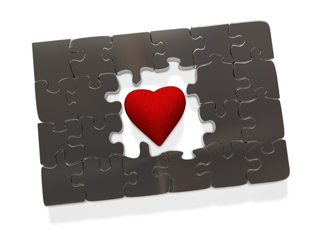 Metal puzzle in the center of which is a soft knitted heart, 3d render