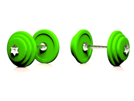 Two dumbbells on a white background, 3d render